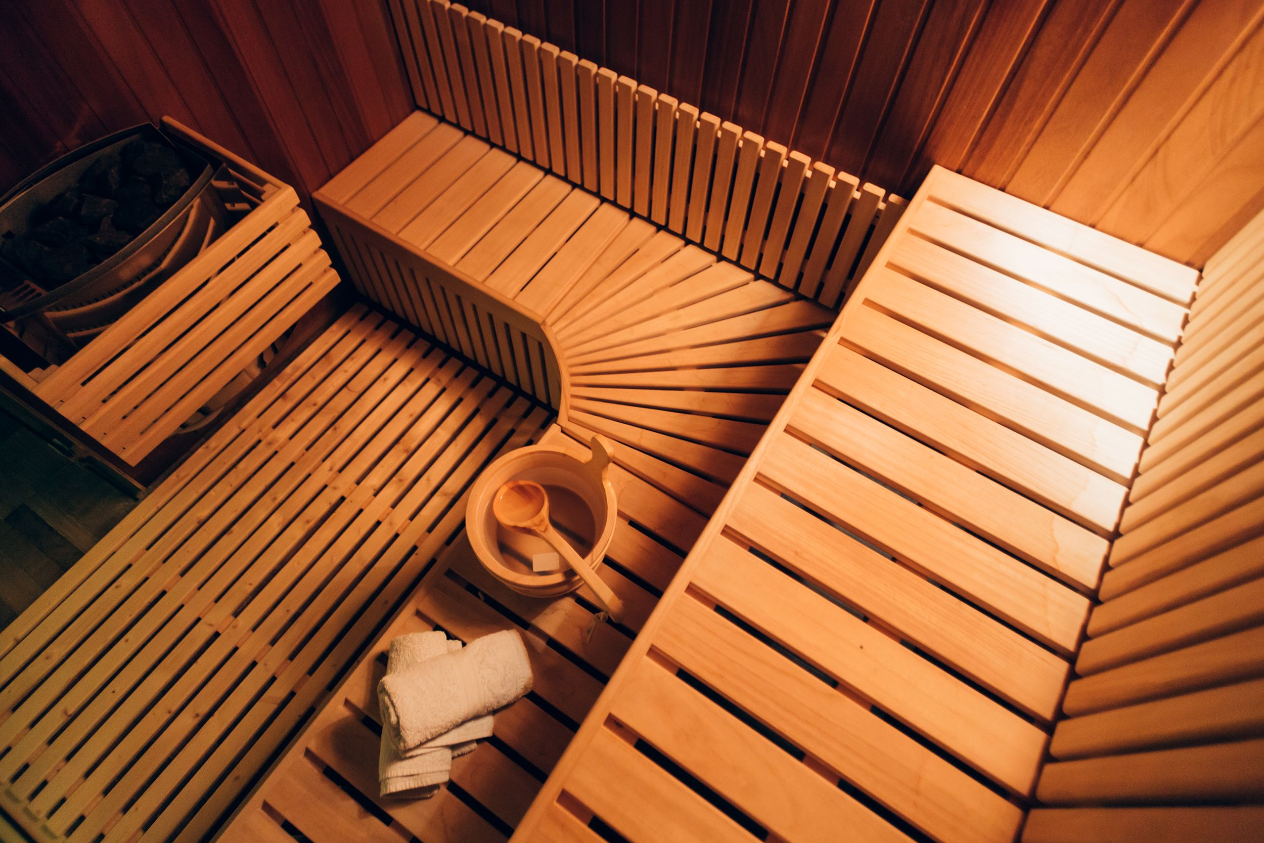 Interior of a tidy wooden sauna room